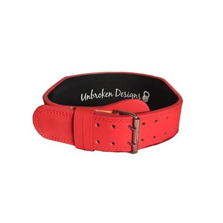 Ceinture d'haltérophilie en cuir rouge UNBROKEN DESIGNS modèle MATTE RED 1