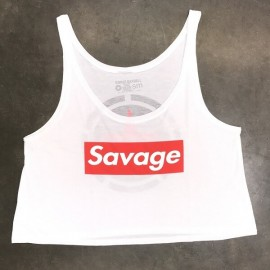 "SAVAGE BARBELL - Women Crop Top ""Savage Box - White"""