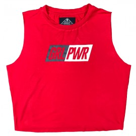 "SAVAGE BARBELL - Women's Cut Off Tee ""GRL PWR - Red"""