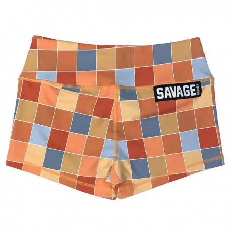 "SAVAGE BARBELL - Women Booty Short ""Disco Square"""