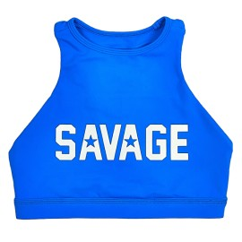 "SAVAGE BARBELL - Women Sports Bra ""High Neck ""Blue Saphire"""