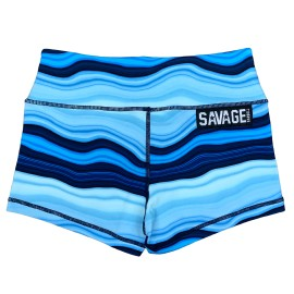 SAVAGE BARBELL - Women Booty Short Blue Marble""